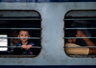 Boy in train - Varanasi