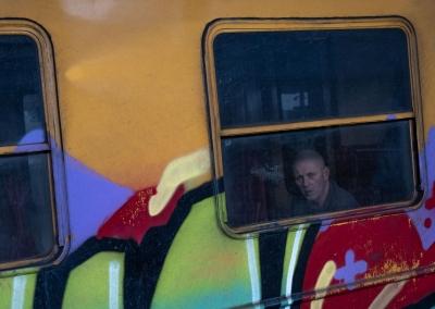 POLISH MAN IN A TAGGED TRAIN