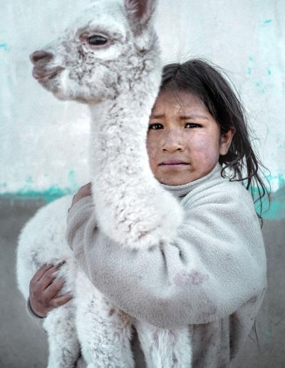 QUECHUA GIRL WITH HER ALPACA