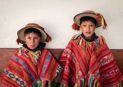 TRADITIONAL QUECHUA KIDS FROM LARES IN PERU
