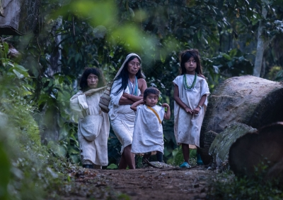 KOGI INDIGENOUS FAMILY IN THE SIERRA NEVADA DE SANTA MARTA